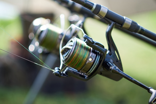 Fishing reel in close up