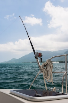 Fishing rod and reel on a sailing yacht
