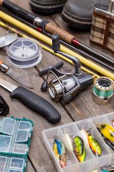 木の板の旅の釣り道具