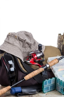 Fishing tackles with handbag and hat