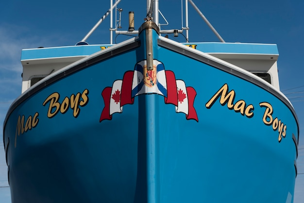 港での釣りトロール、cheticamp、cabot trail、ケープブレトン島、ノバスコシア、カナダ