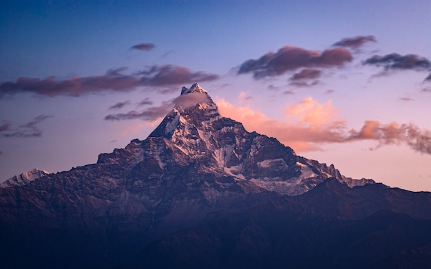 Сияющая гора fishtail во время похода марди, непал.