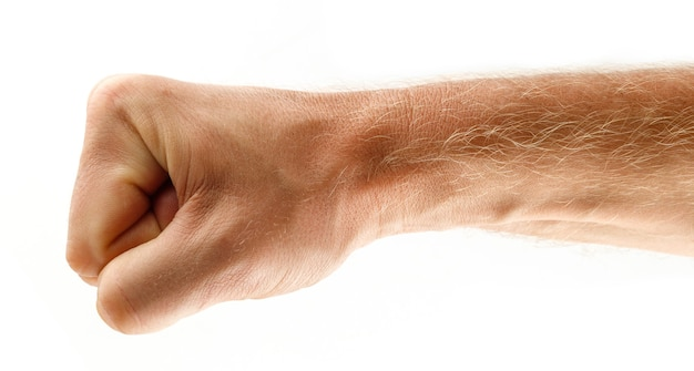 拳の男性の分離。抵抗、強さ、攻撃性の象徴。