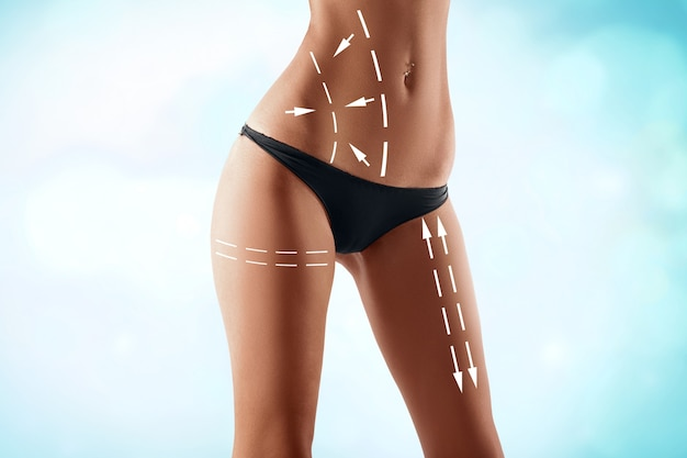 Fit female body with the drawing arrows