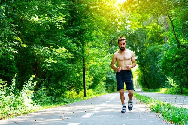 공원에서 아침 조깅을 하는 맞는 남자. 양각 몸을 가진 남자가 보도를 달리고 있습니다.