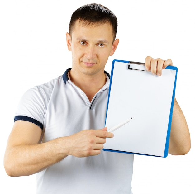 Fit man personal trainer standing with clipboard isolated on white