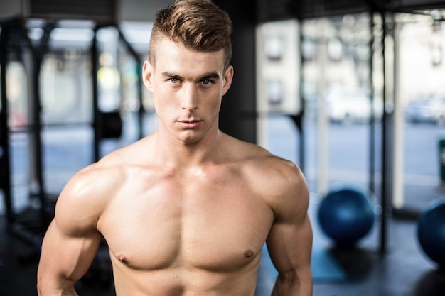 Fit muscular man posing shirtless at gym