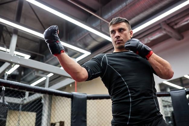 운동하는 동안 싸우는 포즈에 서있는 장갑에 강한 남자 복서를 장착하십시오. 힘과 동기 부여의 개념. 킥복싱, mma, 스포츠 컨셉