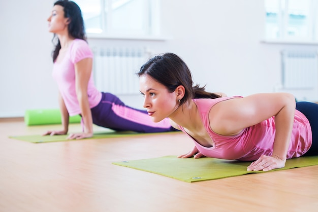 Fit woman doing plank exercise and push ups working on abdominal muscles triceps.