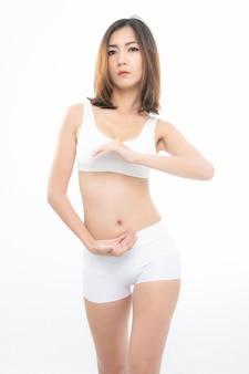 Подходит женщина стройное женское тело.