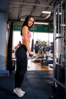 Fit woman workout triceps lifting weights in gym