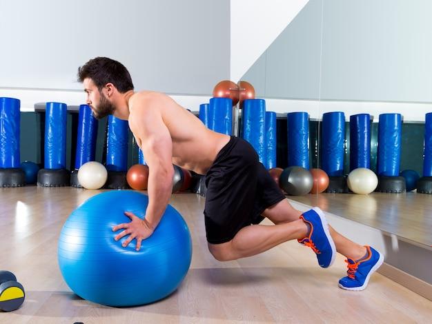 Fitball abdominal push ups swiss ball