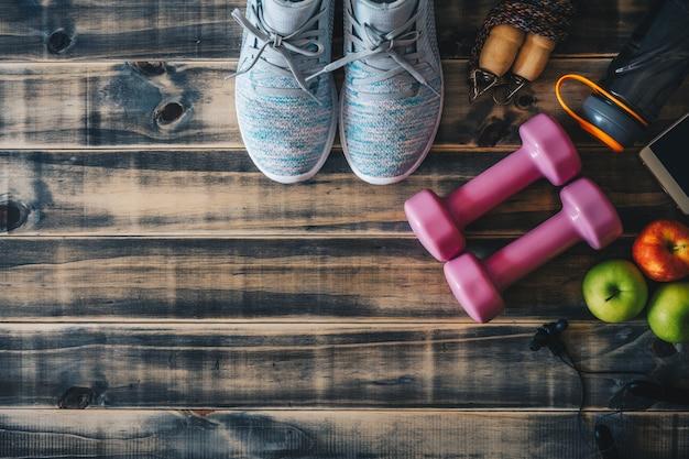 フィットネスや健康的なアクティブなライフスタイルの背景のコンセプト。