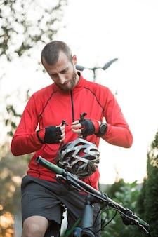 Fitness boy with bike