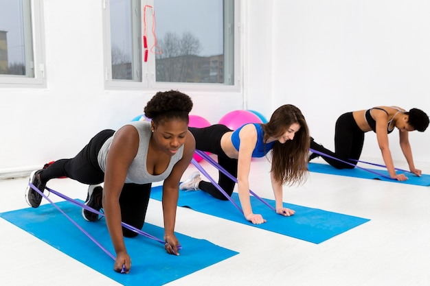 Fitness class in the same position