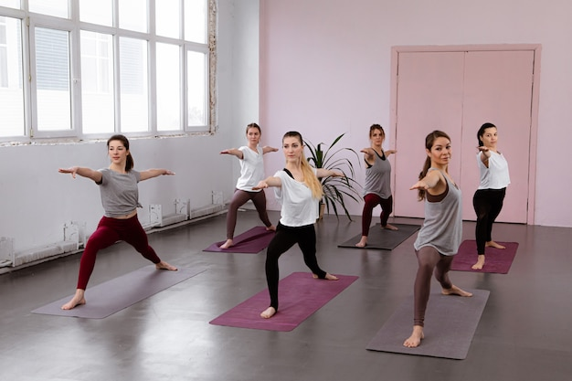 Fitness class, sport and healthy lifestyle concept