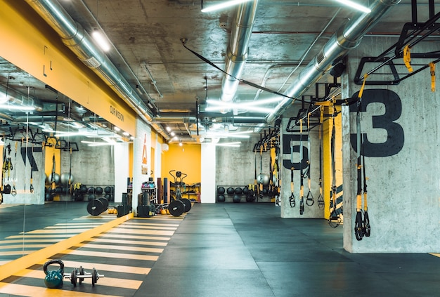 Fitness club with equipments