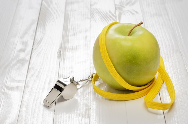 Fitness concept and apple