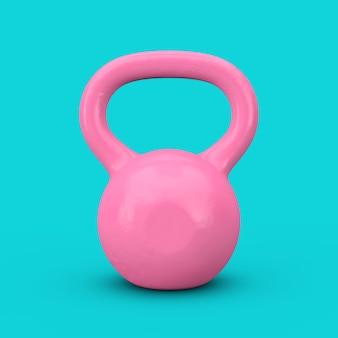 フィットネスコンセプト。青い背景の上のデュオトーンスタイルのピンクの鉄のダンベルの重み。 3dレンダリング