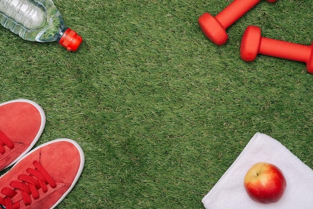 운동 장비, 신발, 사과, 덤벨, 물이 푸른 잔디에 있는 피트니스 개념.