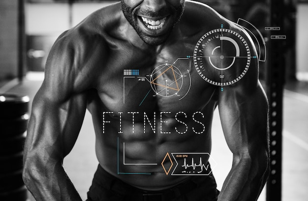 Fitness concept with fit man flexing