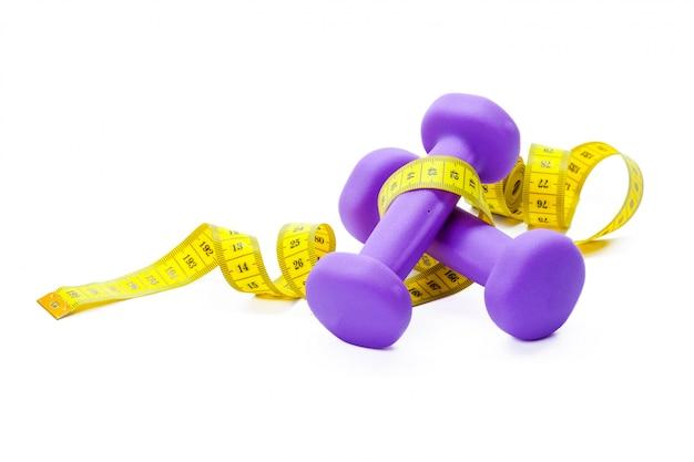 Fitness equipment. healthy food. dumbbells