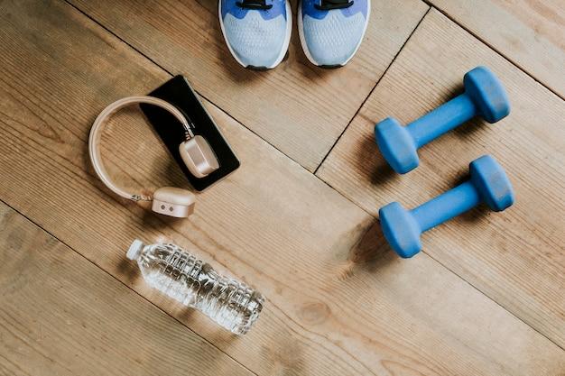 Fitness equipment on a wooden floor