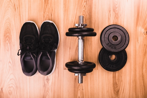 Fitness equipments on wooden floor