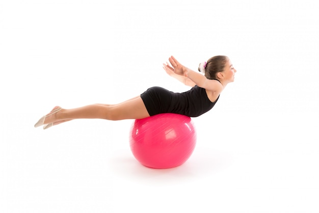 Fitness fitball swiss ball kid girl exercise workout