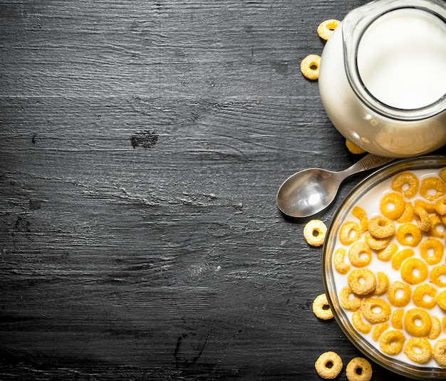 Fitness food. cereal with milk in a glass dish.
