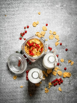Fitness food. muesli with berries and milk. on the stone table.
