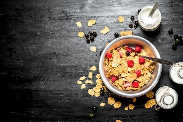 Фитнес-питание. мюсли со спелыми ягодами и молоком.