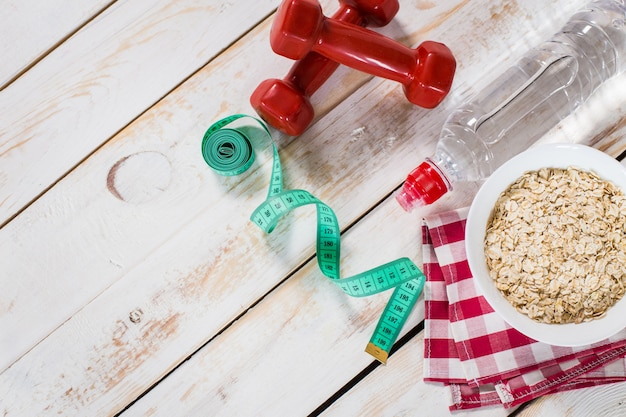 Fitness frame with energy breakfast