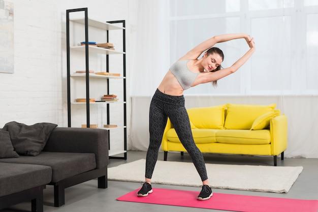 Fitness girl making excercise