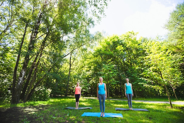 Fitness group doing yoga in park on a sunny day