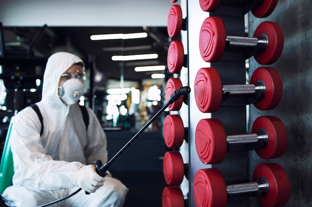 Fitness gym disinfection and healthcare