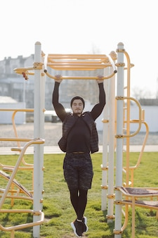 Fitness man training outdoors living active healthy