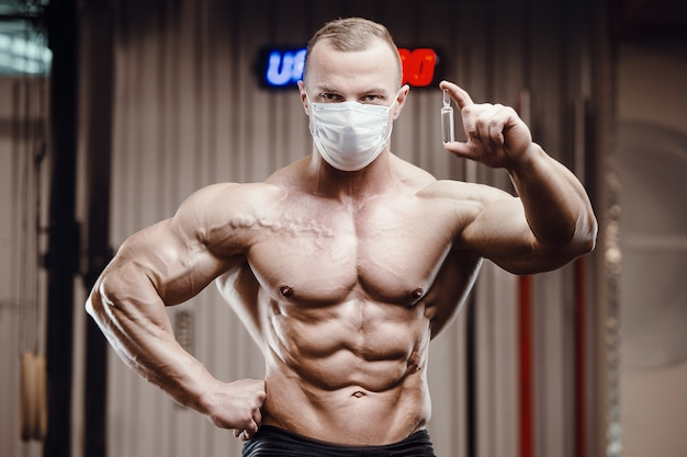 Fitness man with coronavirus disease covid-19
