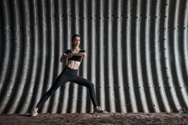 Fitness model working out outdoor