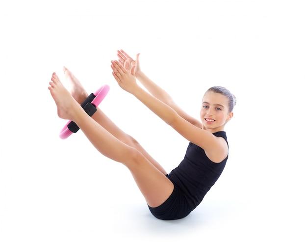 Fitness pilates yoga ring kid girl exercise workout