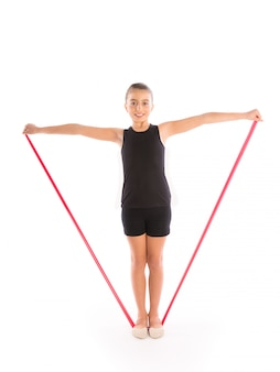 Fitness rubber resistance band kid girl exercise