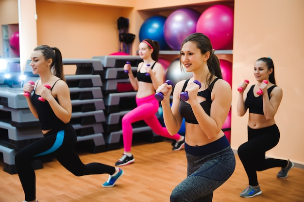 Fitness, sport, training and lifestyle concept - group of happy women with dumbbells flexing muscles in gym.