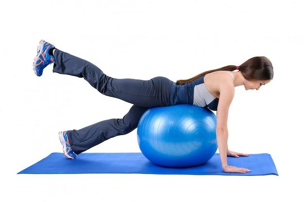 Fitness stability ball glute kickback