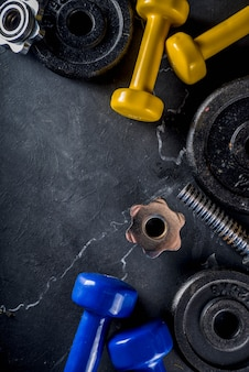 Fitness tools and dumbbells
