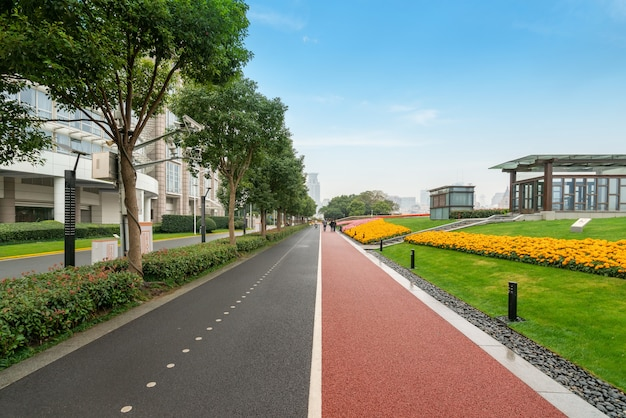 Fitness trail in the park at the bund plaza in shanghai, china
