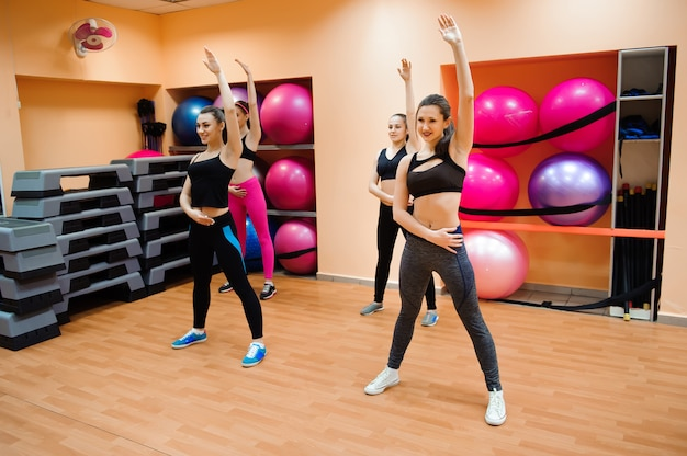 Fitness, training, aerobics, gym and people concept