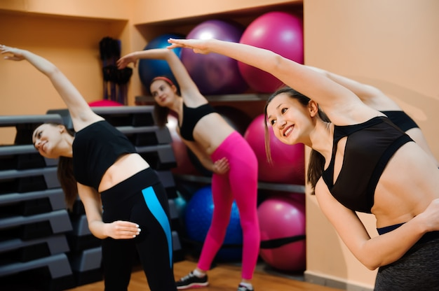 Fitness, training, aerobics and people concept. beautiful women exercising aerobics in fitness club