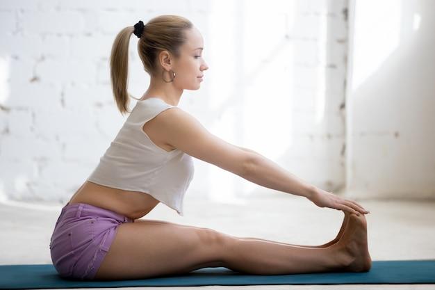 Fitness training in sunny room