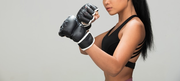 Fitness woman exercise boxing weight punch