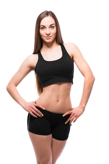 Fitness woman portrait isolated on white background.